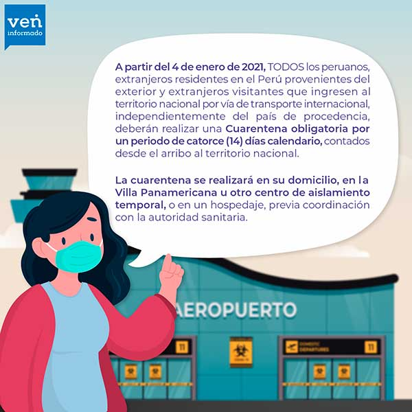 Cuarentena obligatoria para personas que lleguen a Peru