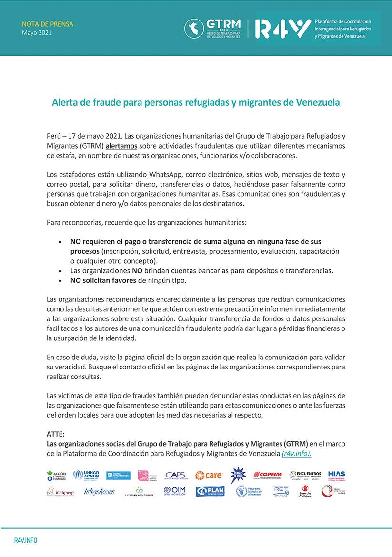 Comunicado-Alerta-Fraude-migrantes-refugiados-Peru-ONG-ayuda-humanitaria-VenInformado